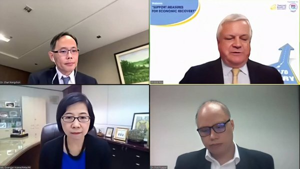 """The Board of Investment (BOI) and the Joint Foreign Chambers of Commerce in Thailand (JFCCT) hosted a webinar entitled """"Support Measures for Economic Recovery"""" during which Ms. Duangjai Asawachintachit, BOI Secretary General, Dr. Pisit Puapan, Executive Director, Macroeconomic Policy Bureau, Ministry of Finance, Dr. Charl Kengchon, Executive Chairman, Kasikorn Research Center, and Mr. Bob Fox, from the JFCCT, discussed the measures taken to help businesses get back on the road to recovery."""