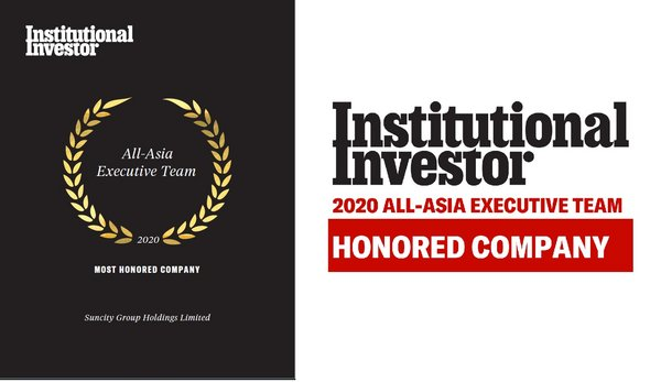 """Suncity Group Holdings Limited Recognized as """"Honored Company"""" by Institutional Investor, All-Asia Executive Team 2020"""